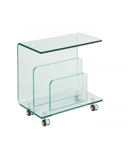 Mesa ALDRIN, baja, ruedas, cristal, 50x29 cms