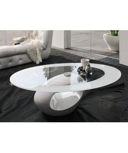 Mesa BOND, baja, blanca, cristal, 110 x 60 cms