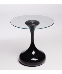 Mesa DROP, baja, negra, cristal, 50 cms