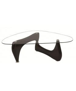 Mesa NOGU, baja, lacada negra, cristal, 120x70 cms