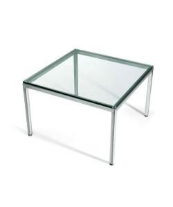 Mesa LAURA, baja, acero inoxidable, cristal, 60x60 cms
