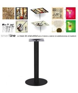 Mesa LOIRA, negra, smartline 70 x 70 cms. Diseño a elegir, Tablero Smartline con decorado: DESIGNLINE 9032