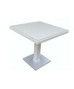 Mesa CANDICE, aluminio, ratán blanco beige, 80x80 cms