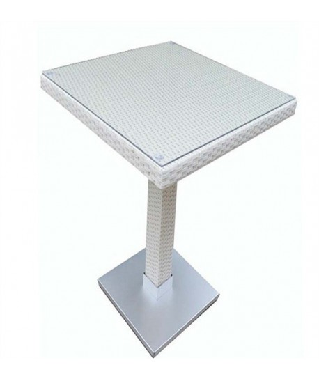 Mesa CANDICE, alta, aluminio, ratán blanco beige, 60x60 cms