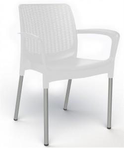 Sillón ALEXANDRA, aluminio, polipropileno blanca*