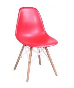 Silla STAR, madera, ABS rojo