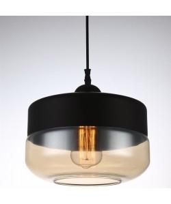 Lámpara LEIRE 1, colgante, cristal negro - cogñac