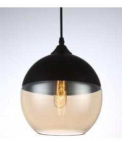 Lámpara LEIRE 2, colgante, cristal negro - cogñac