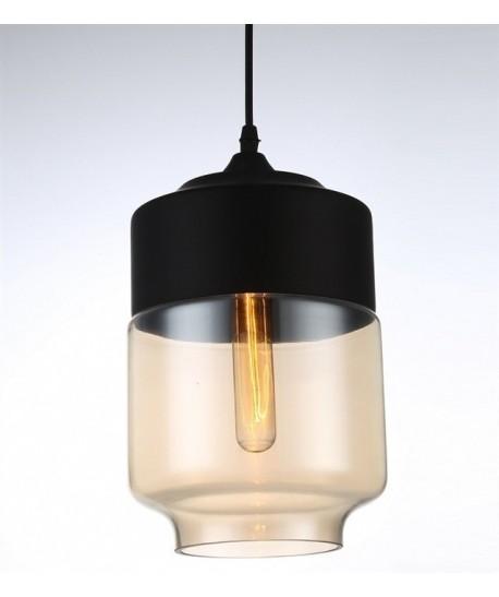Lámpara LEIRE 3, colgante, cristal negro - cogñac