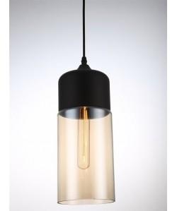 Lámpara LEIRE 4, colgante, cristal negro - cogñac