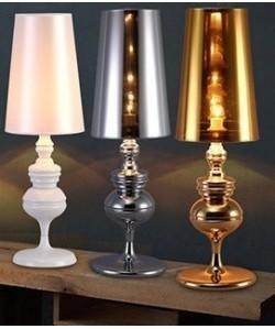 Lámpara LOUVRE PETIT, sobremesa, cromada, pantalla plata