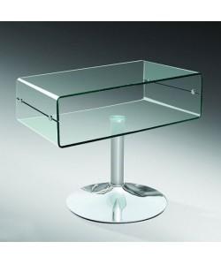 Mesa ELSA, baja, cromada, cristal curvado, 60x38 cms