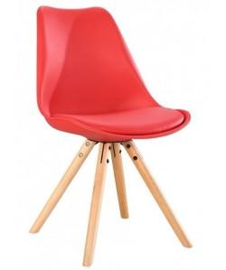 Silla TOW 4P, madera, roja, cojín rojo