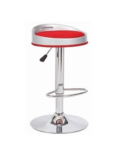 Taburete CUMBIA, cromado, abs blanco, similpiel roja