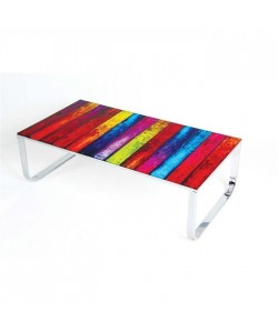 Mesa COLORFUL, baja, metal, cristal, 105x55 cms