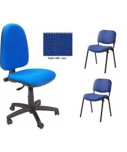Pack PRE50, silla operativa + 2 sillas fijas - tejido A20 azul