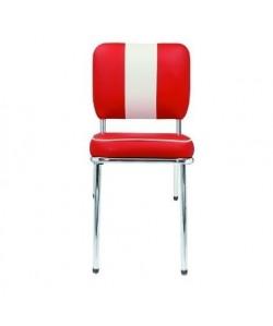 Silla GREASE, cromada, similpiel roja-blanca