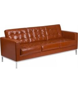 Sofá FLOR, 3 plazas, piel regenerada marrón cogñac