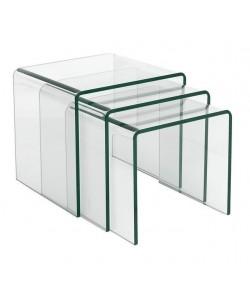 *Mesa VULCANO NEW, nido - tres mesas -, cristal